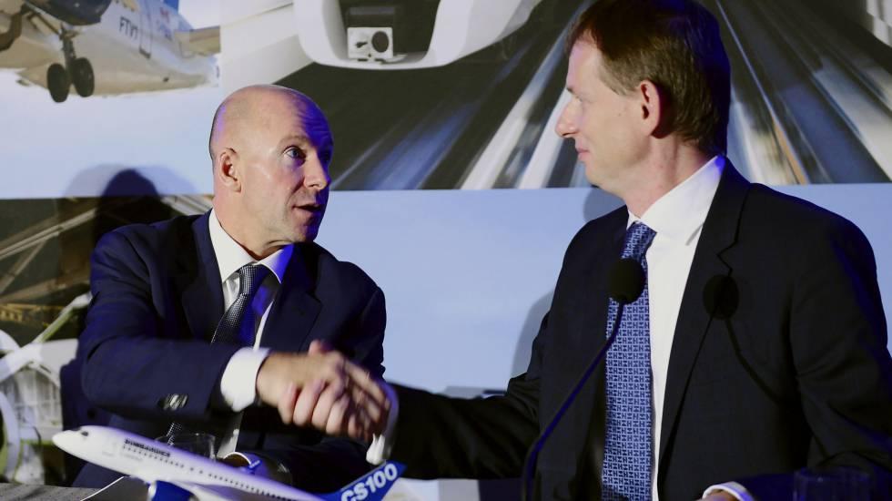 Alain Bellemare, presidente de Bombardier, con Romain Trapp, de Airbus