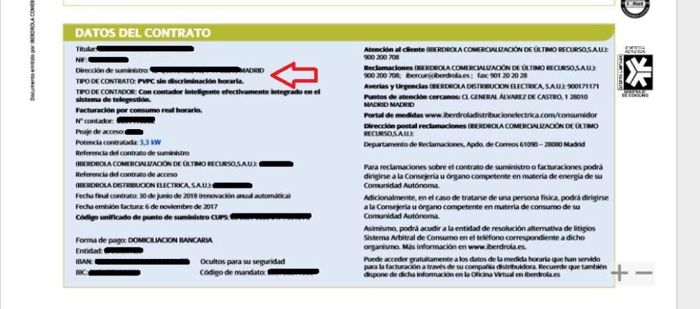 Ejemplo de factura de Iberdrola donde aparece el tipo de tarifa, en este caso, regulada