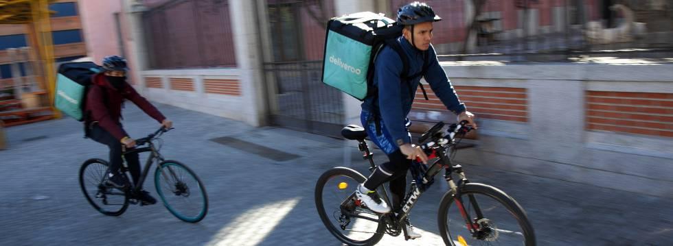 Entregadores de comida de bicicleta em Madri