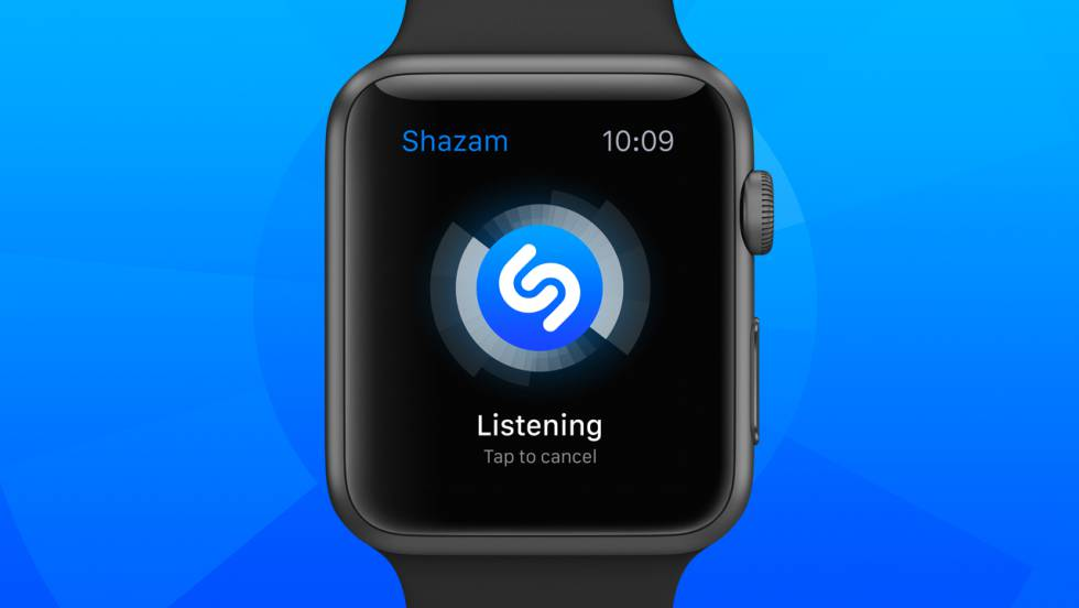 Vista de la aplicación Shazam en un Apple Watch.
