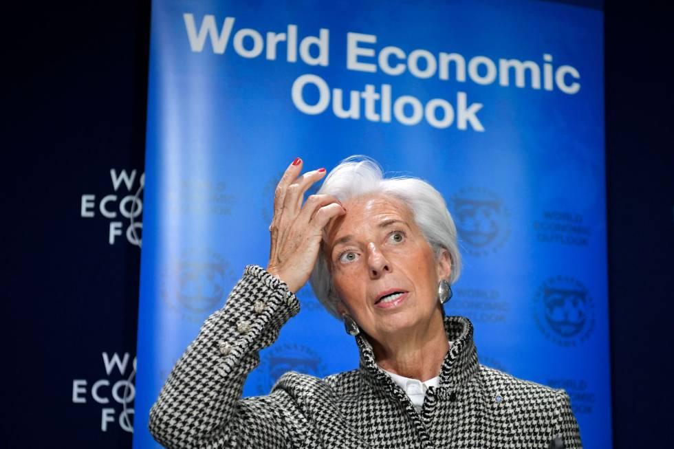 La directora gerente del FMI, Christine Lagarde, en Davos.