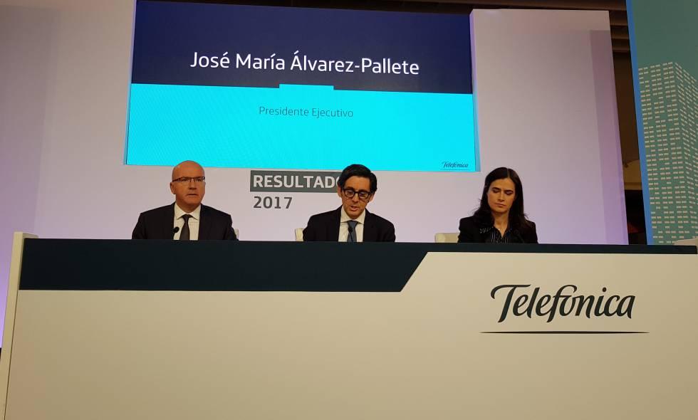 El presidente de Telefónica, José María Álvarez-Pallete, hoy, en la presentación de resultados de 2017.