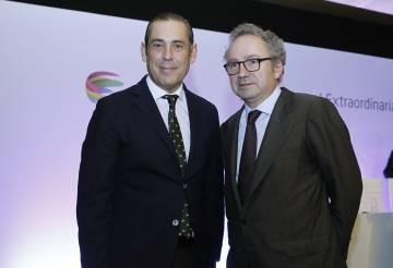 El consejero delegado de PRISA, Manuel Mirat (izquierda), y el presidente no ejecutivo, Manuel Polanco