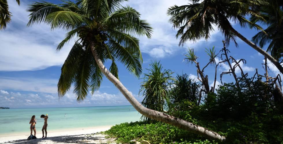 Dos mujeres bajo una palmera en una playa en las Islas Andamán (India).
