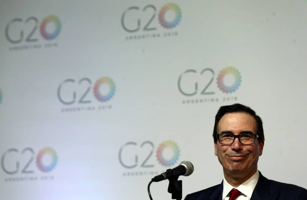 El secretario del Tesoro de EEUU, Steven Mnuchin, durante la rueda de prensa al cierre del la cumbre del G-20.