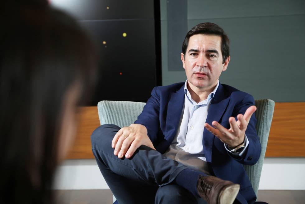Carlos Torres, consejero delegado de BBVA, en la entrevista en San Francisco