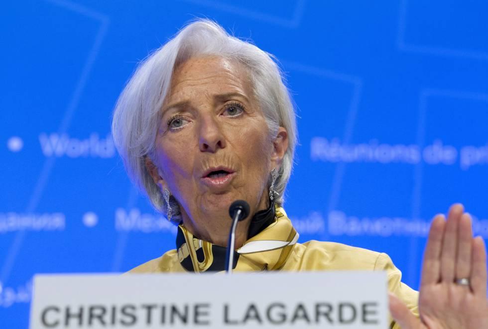 Christine Lagarde, este jueves en la sede del FMI, en Washington.