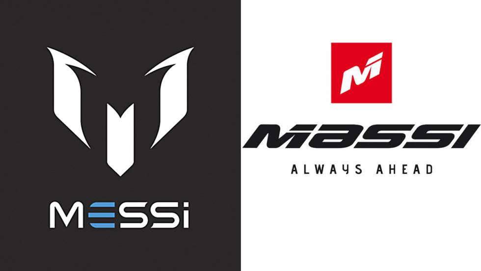 A la izquierda, la marca del jugador argentino Messi, y a la derecha, la de la empresa de textil y bicicletas Massi.