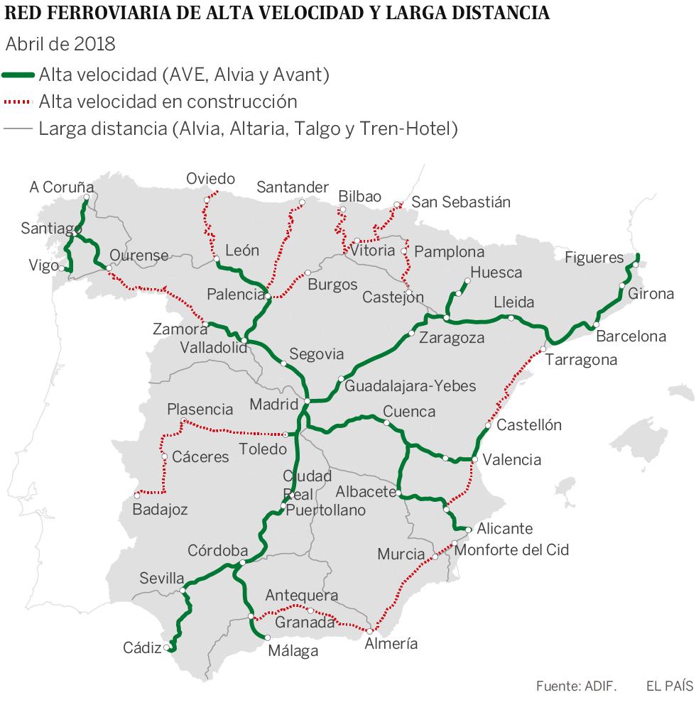 Mapa Recorrido Ave Barcelona Sevilla.Fuerte Empujon A Un Ave Con Llegada En 2025 Economia El Pais