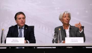 La titular del FMI, Christine Lagarde, durante la rueda de prensa junto al ministrso de Economía de Argentina, Nicolás Dujovne.