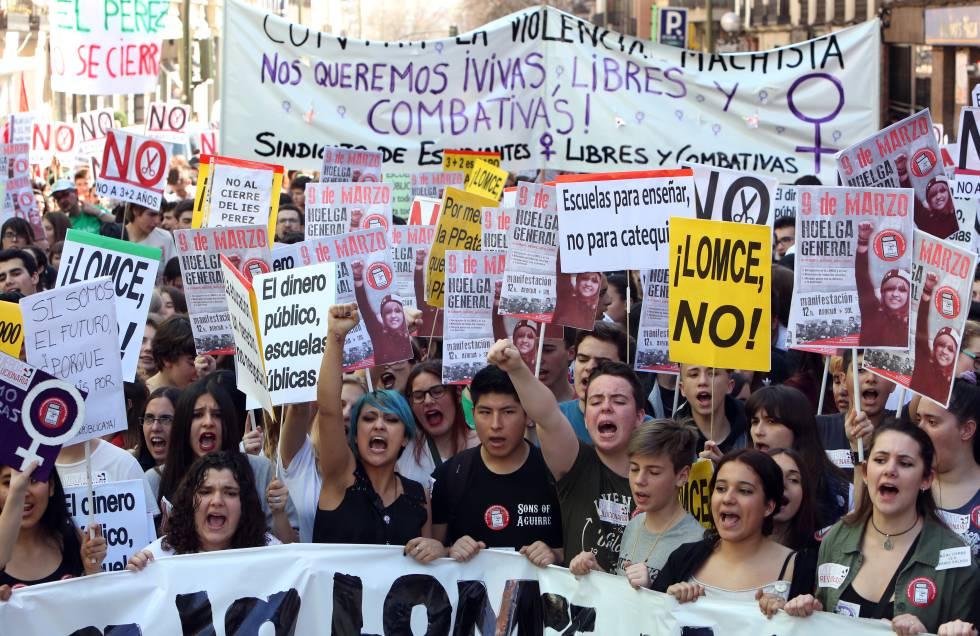 Manifestación en Madrid a favor de la enseñanza pública en 2017.