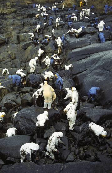 Voluntarios limpian la costa gallega en 2002.