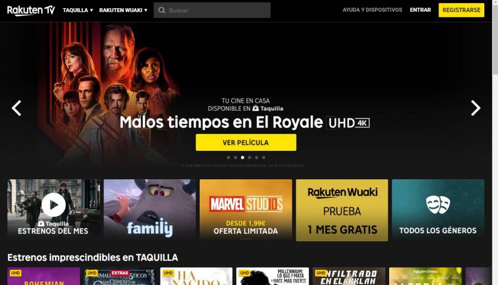 El portal de contenidos audiovisuales Rakuten TV.