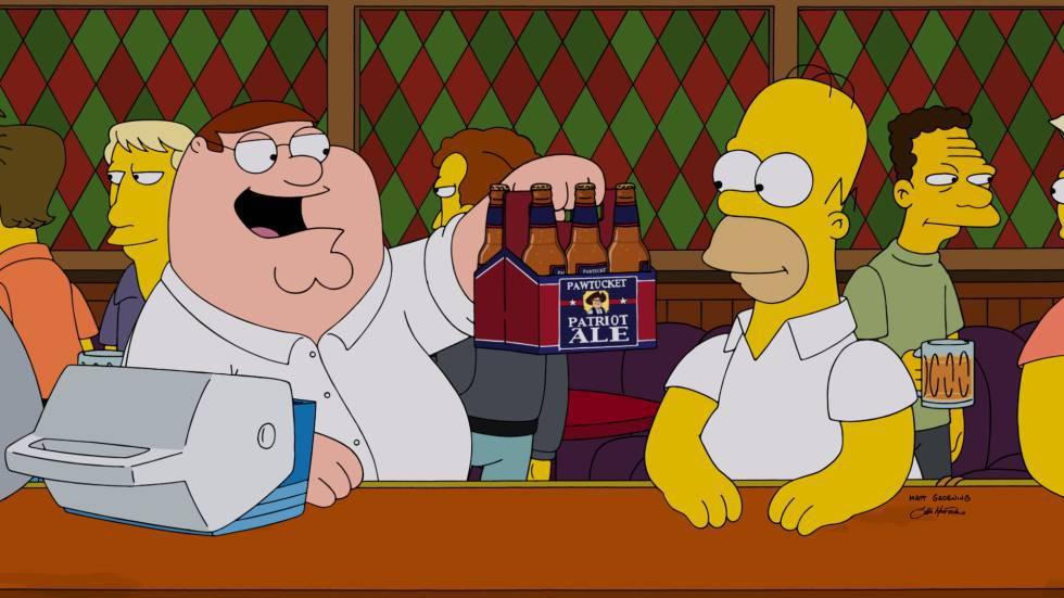 Peter Griffin (izquierda) y Homer Simpson en un episodio en el que 'Padre de familia' y 'Los Simpson' se cruzaron.