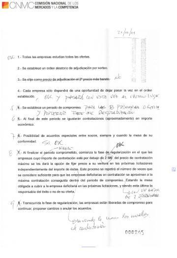 Anotaciones manuscritas encontradas en la inspección que la CNMC hizo en Elecnor que describen la estrategia de reparto de licitaciones.