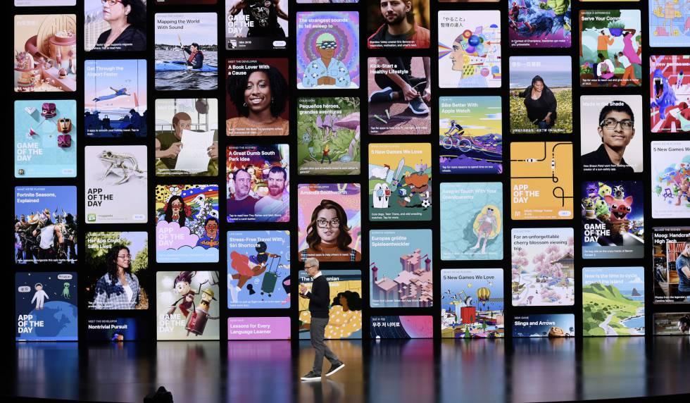 El consejero delegado de Apple, Tim Cook, presenta la plataforma de televisión de la compañía, el pasado lunes en su sede de Cupertino (California).