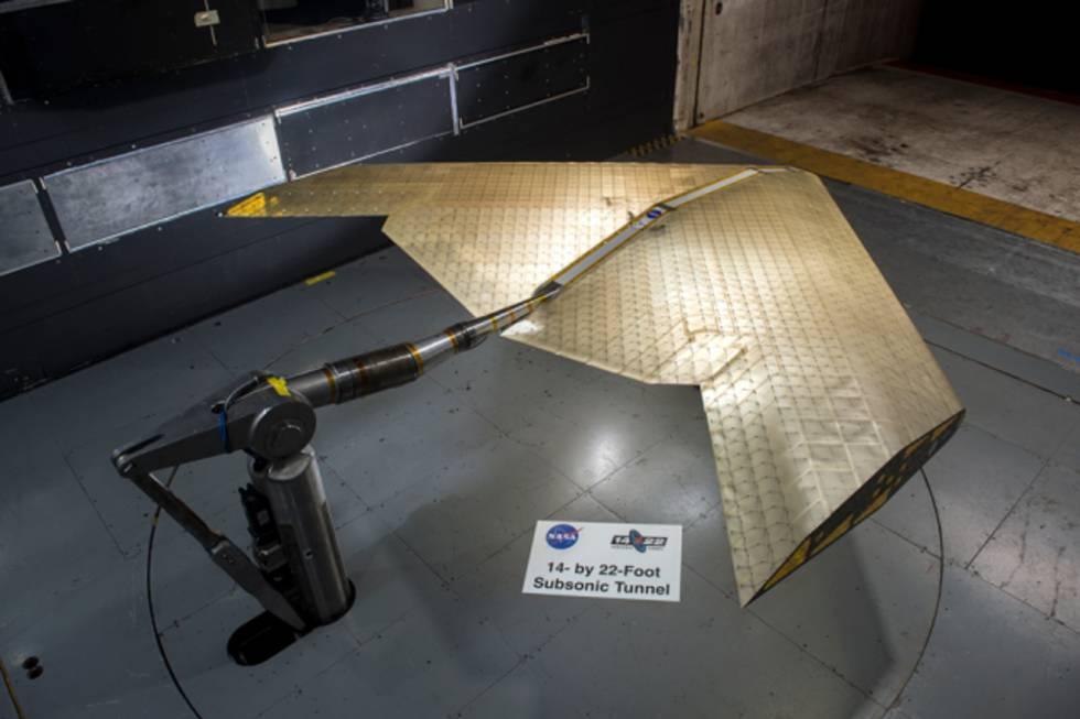 El ala se ha probado en un túnel de viento de la NASA.