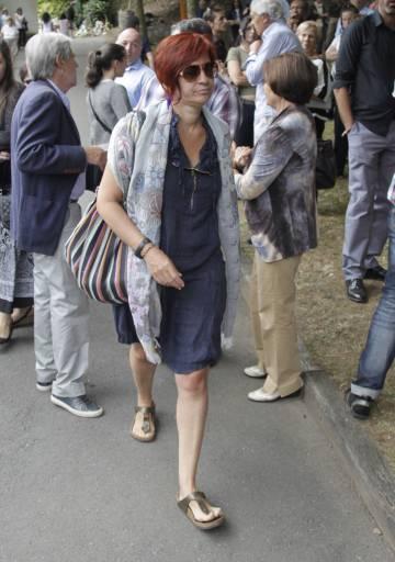 Sandra Ortega al funerale di sua madre, nel 2013.