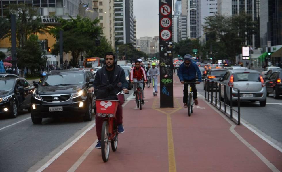 La ciclovía de la avenida Paulista, en São Paulo.