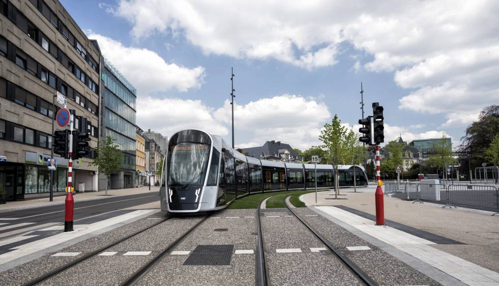 Urbo tram of CAF in Luxembourg.