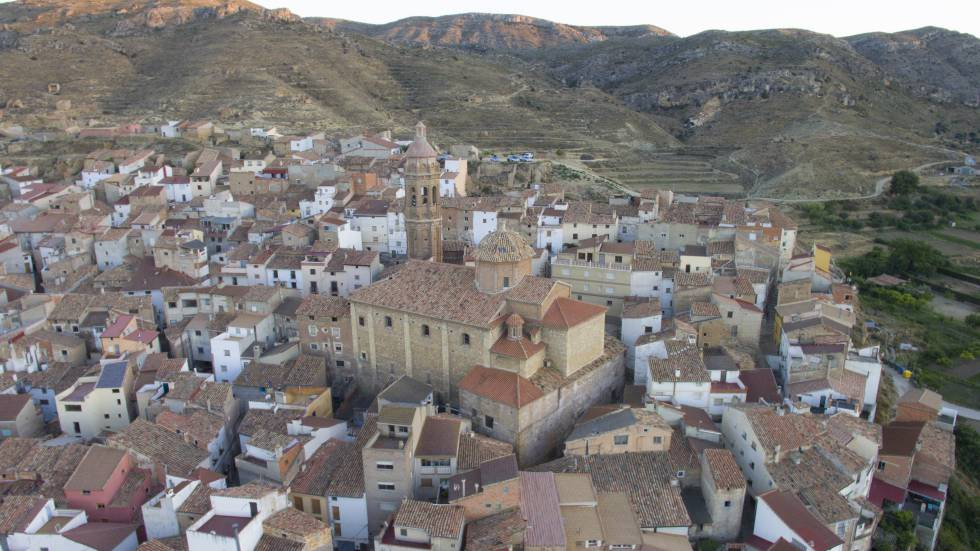Vista aérea de Oliete, en Teruel.