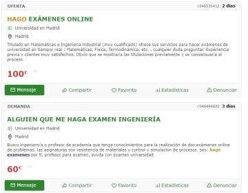 Offers to take exams 'online' by other people in Milanauncios.
