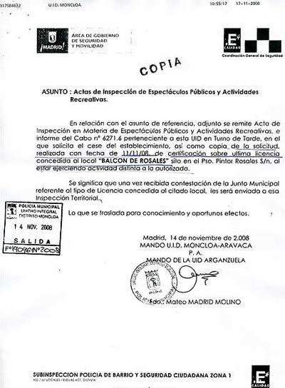 Stunning Documento Que Acredita Que No Se Comunic La Inspeccin Hasta El  Pasado Viernes With Licencia De Apertura De Madrid.