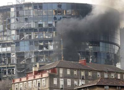 Estado en que ha quedado el edificio de EiTB en Bilbao tras el atentado de ETA