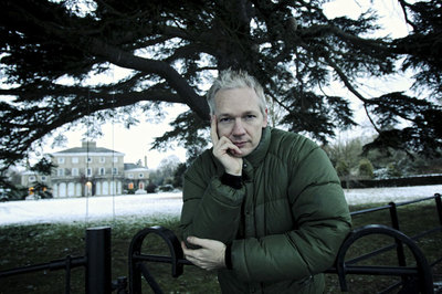 Julian Assange, pictured on Sunday at the home he is staying in.