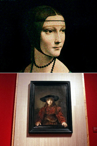 Top: Lady with an Ermine, a masterpiece painted in Milan by Leonardo da Vinci around the year 1490. Below: one of the exhibition rooms in the Royal Palace with work from the Polish Golden Age exhibition.