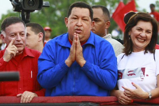 Chávez gestures during a rally in Cabimas, Zulia state on Sunday.