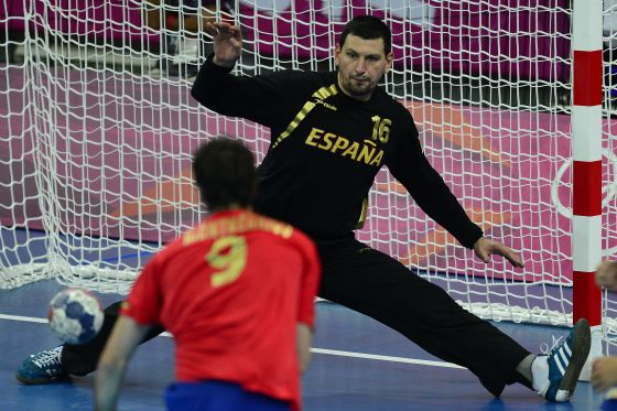 Spanish goalkeeper Arpad Sterbik plays against France at this summer's London Olympics.rn