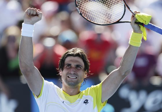 David Ferrer celebrates his win over American Tim Smyczek in the second round of the Australian Open.