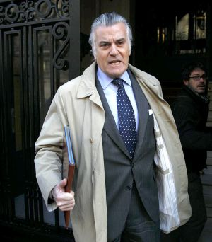 Luis Bárcenas, pictured outside his Madrid home on Tuesday.