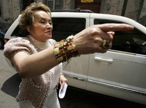 Elba Esther Gordillo gestures as she arrives at a meeting in Mexico City in 2006.