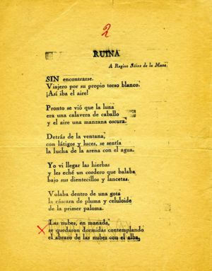 'Ruina', with the last verse crossed out.