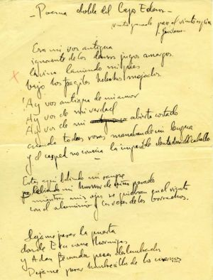 The first page of Lorca's Double Poem of Lake Eden.