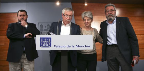 Union leaders Julio Salazar, Ignacio Fernández Toxo, Bernadette Ségol and Cándido Méndez at La Moncloa on Monday.