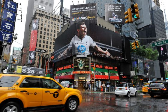 A Times Square billboard of Gareth Bale advertises NBC's coverage of the Premier League.