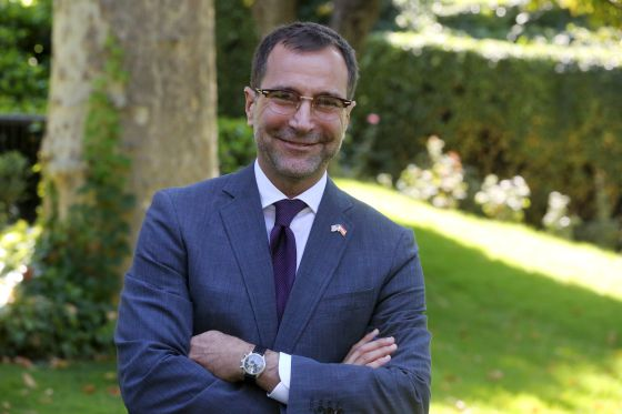 James Costos in the garden of the US Embassy in Madrid.