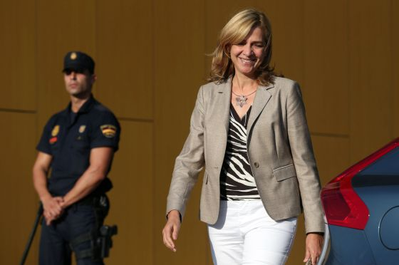 Princess Cristina leaving the hospital where King Juan Carlos underwent hip surgery last month.