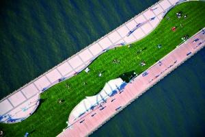 Hudson River Park, Nueva York. El antiguo muelle es ahora un gran espacio verde