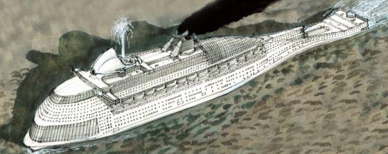 Dibujo de la ballena-barco que transporta a los inmigrantes.