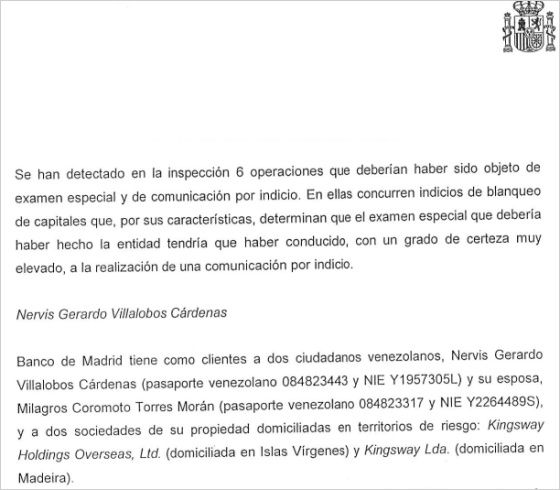 Venezuela excerpt from Sepblac report on Banco de Madrid.