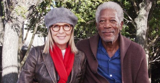 Morgan Freeman junto a su nueva compañera de reparto, Diane Keaton, en la película '5 Flights Up'