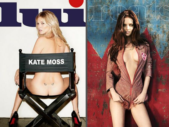 Portada de la revista 'Lui', con Kate Moss, y de 'Treats!'.