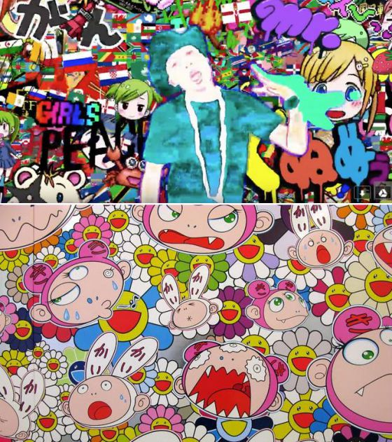 Imagen del vídeo 'It Girls' de Farrell Williams. Obra de Takashi Murakami.