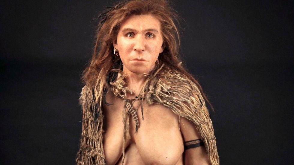 Recriação de uma neandertal no Museu de História Natural de Londres.