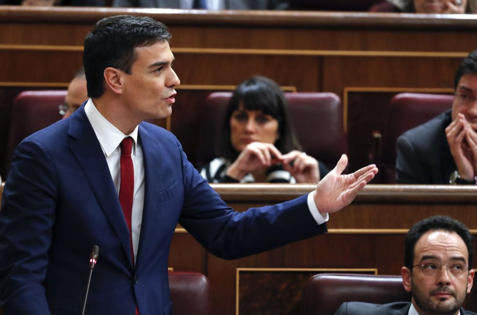 PSOE chief Pedro Sánchez during Wednesday's investiture debate.