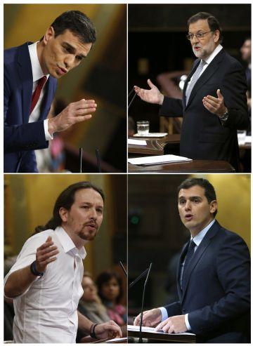 Pedro Sánchez, Mariano Rajoy, Pablo Iglesias y Albert Rivera, durante sus intervenciones de ayer en el Congreso de los Diputados.